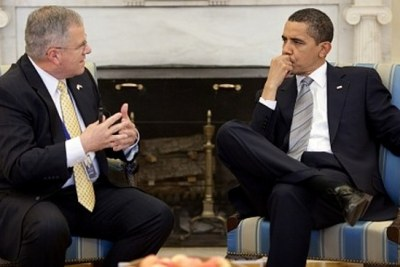 President Barack Obama seen with his special envoy to Sudan Scott Gration (file photo).