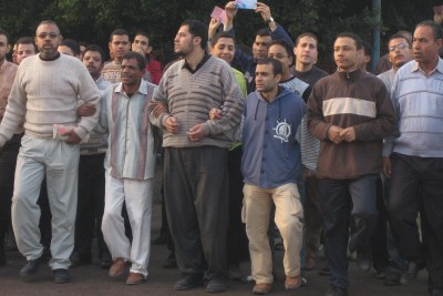 Muslim Brotherhood supporters demonstrate outside a polling station in Alexandria (file photo).