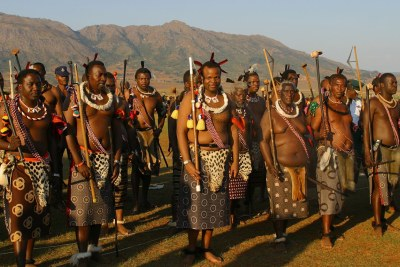 King Mswati III, centre (file photo).