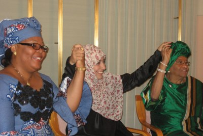 2011 Nobel Peace Prize winners: L-R Leymah Gbowee, Tawakkol Karman and President Ellen Johnson Sirleaf.