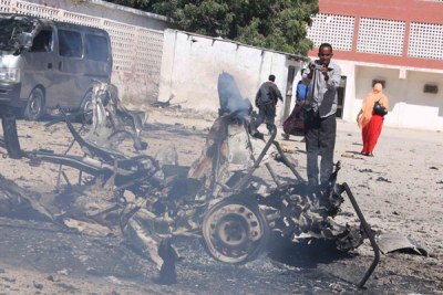 Car bomb wreckage (file photo): The explosions were the deadliest in the city since September 12  when three bombers killed at least 5 people at a hotel where Somalia's new president had been temporarily living.