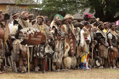 Zulu tribal leaders at a reed dance ceremony.