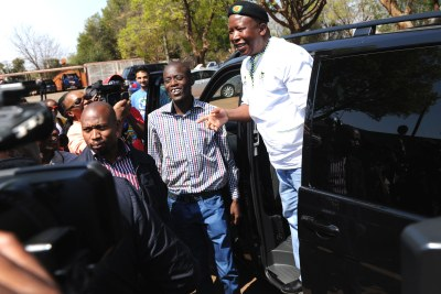 Expelled ANC Youth league president Julius Malema arrives to listen to the grievances of soldiers in Johannesburg.