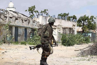 One of the Uganda People's Defence Force soldiers attached to the African Union Mission in Somalia (file photo).