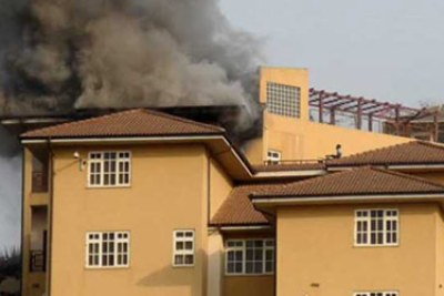 The former president's home on fire.