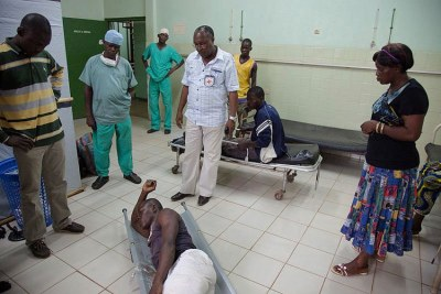 Some of the injured who were evacuated 