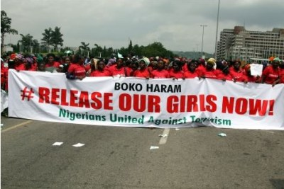 women protesting over kidnapped schoolgirls