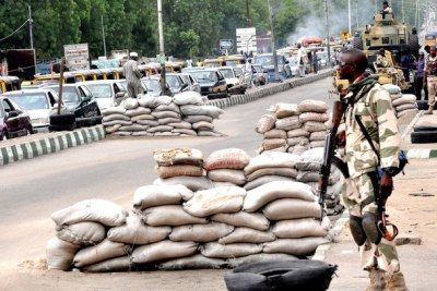 Soldiers on duty in Maiduguri, the Borno State capital (file photo).