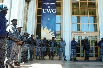 The University of Western Cape called in private security to protect the campus after acts of vandalism and arson.