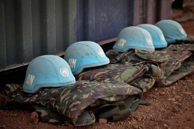 UN peacekeeping helmet.