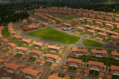 The aerial view of a housing estate in Gaculiro, Kigali.