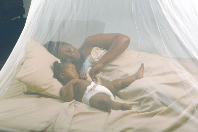 A mother and her child sleep under a mosquito net. This is one of the methods to fight against malaria (file photo).