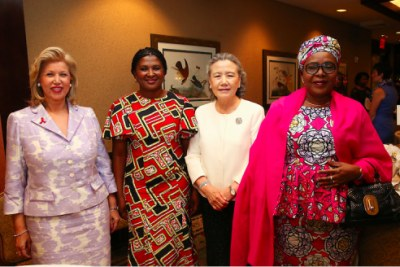 (From Left) H.E., First Lady of Cote d'Ivoire, Mrs. Dominique Ouattara-Folloroux; H.E. First Lady of Namibia, Mrs. Monica Geingos; H.E., Mrs. Ban Soon-Taek, spouse of UN Secretary General Ban Ki-Moon; H.E. Dr. Malika Issoufou Mahamadou, First Lady of The Republic of Niger. The Organisation of African First Ladies Against HIV/AIDS (OAFLA) joined GE and Santa Clara University's Miller Center for Social Entrepreneurship on to advance social entrepreneurship to improve maternal and child health outcomes in sub-Saharan Africa.