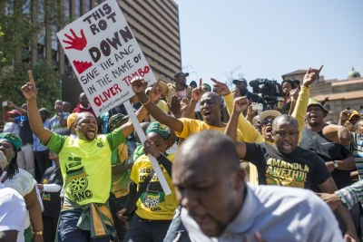 ANC members protest against President Jacob Zuma.