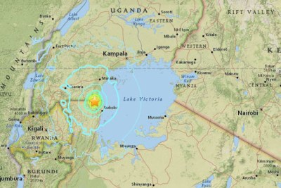 The epicentre of the 1227 GMT quake was about 25 kilometres (15 miles) east of the north western town of Nsunga on the border of Lake Victoria/USGS.