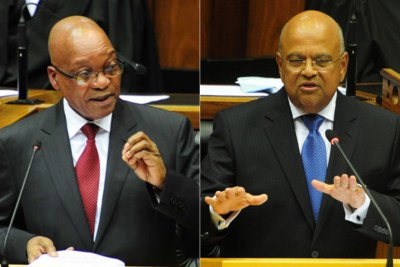 President Jacob Zuma, left, and Pravin Gordhan, former finance minister (file photo).