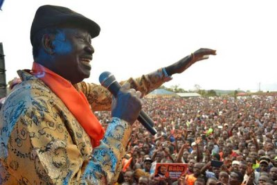 ODM leader Raila Odinga at a past rally. His party has gone to court after failing to comply with rules on election financing.
