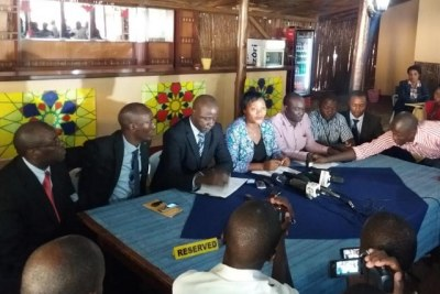 Kasese MPs talk to the press about their ICC petition.