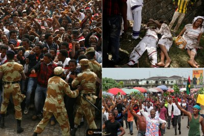 Oromo protesters were injured in Ethiopia as well as pro-Biafra protesters in Nigeria during 2016.
