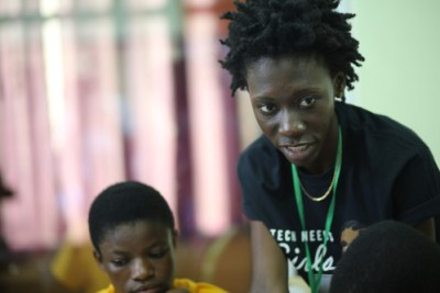 Abigail Asamoah gives back to the community volunteering to mentor young girls in Ghana through the Tech Needs Girls initiative.