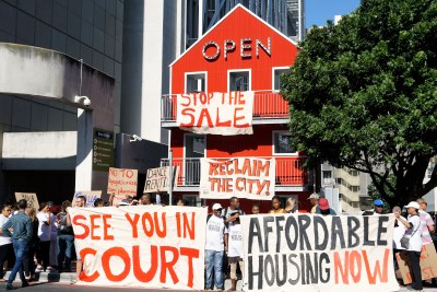 Reclaim the City supporters protest the sale of the Tafelberg site (file photo).