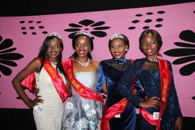 Miss Deaf 2017 winner Chiedza Hukuimwe in silver dress, flanked by her princesses Ruth Mukome, Natasha Sibanda and Thandynkosi Sibanda.