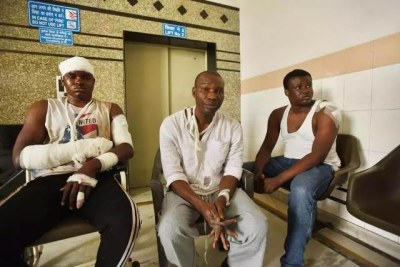 Three Nigeria students nursing wounds after suffering from racial attacks by Indians in Noida-India.