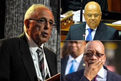 Left: Late struggle veteran Ahmed Kathrada. Top-right: Former finance minister Pravin Gordhan. Bottom-right: President Jacob Zuma.