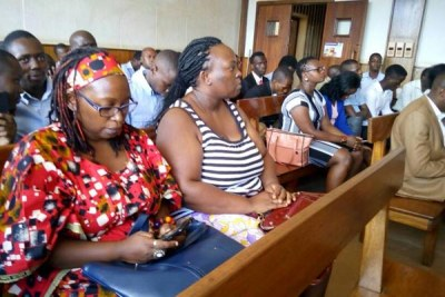 Makerere University academic Dr Stella Nyanzi, left, in court on May 22, 2017.