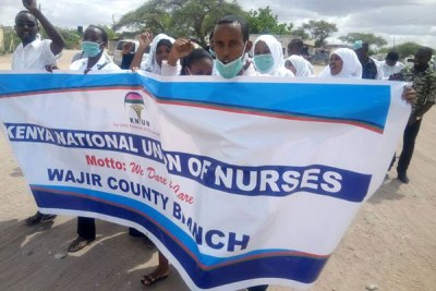Nurses protest in the streets of Wajir town.