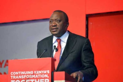 President Uhuru Kenyatta speaks during the launch of Jubilee manifesto at Kasarani Sports Centre in Nairobi.