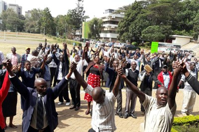 University of Nairobi staff demonstrate as they begin their strike.