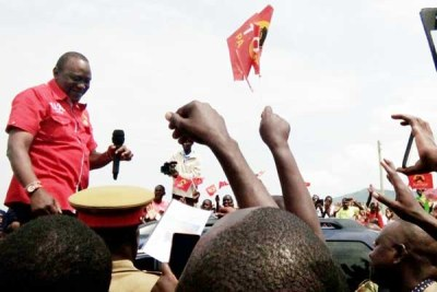 President Uhuru Kenyatta addressing supporters in July.