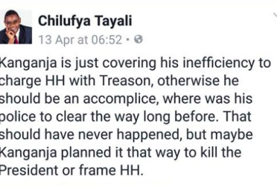 Chilufya Tayali has been charged with criminal libel over this Facebook post.