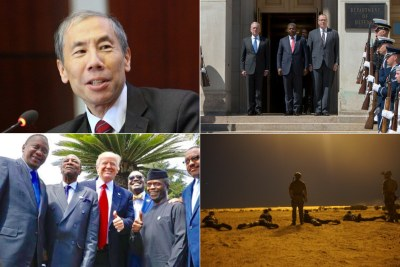 Ambassador Donald Yamamoto; Angolan Defense Minister João Lourenço and U.S. Defense Secretary James Mattis; President Trump with African leaders at the G20 Summit; U.S. troops training Niger soldiers.