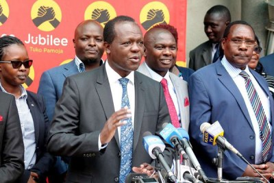 Jubilee Party Secretary General Raphael Tuju with other leaders during a press conference at the party's headquarters in Nairobi.