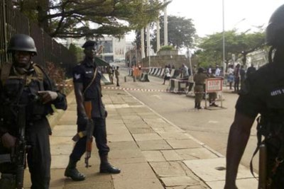 Security officers deployed at the main gate of Parliament.