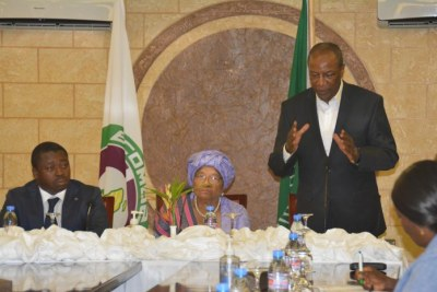From left: ECOWAS Chairman and President of the Republic of Togo, Faure Gnassingbé; President of Liberia, Ellen Johnson Sirleaf; and AU Chair and President of the Republic of Guinea, Alpha Condé, at the high table. The AU and ECOWAS are working to resolve the political impasse that has gripped the Liberian nation since the release of the results of the October 10 polls.