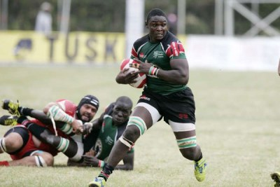 Kenya Simba's Mike Okombe in action against Tunisia during their Confederation of African Rugby match on June 28, 2015 at RFUEA grounds.