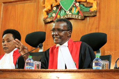 Chief Justice David Maraga, with Deputy Chief Justice Philomena Mwilu at the Supreme Court on November 14.