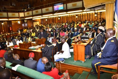 Ugandan MPs debate the age limit bill.