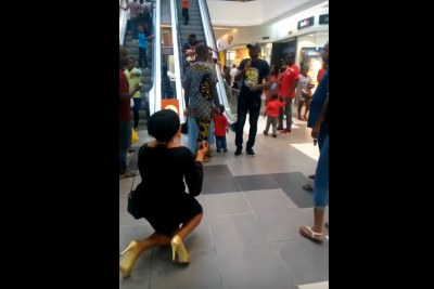 A woman's public proposal to her partner has went horribly wrong.