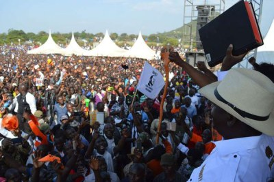 Nasa leader Raila Odinga addresses his supporters at the Homa Bay stadium in Homa Bay County on January 27, 2018.