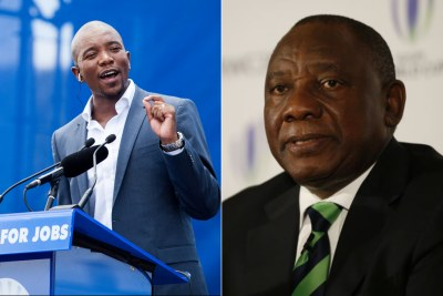 Left: Democratic Alliance leader Mmusi Maimane. Right: ANC President Cyril Ramaphosa.