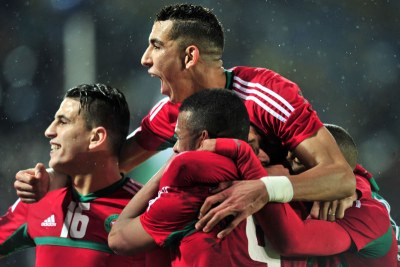 Morocco celebrate in the CHAN 2018 final.