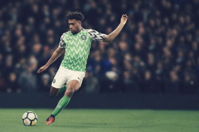 Alex Iwobi in new Super Eagles kit.