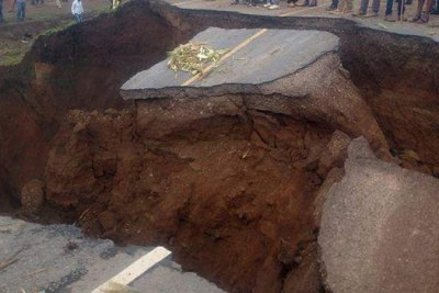 The road at Suswa caved in due to heavy rains.