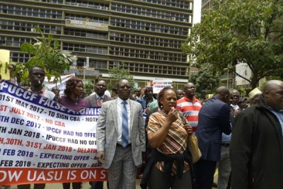Lectures protest in Nairobi on March 14, 2018.