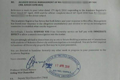 The letter in which Makerere University suspended Edward Kisuze, a senior administrative assistant in the Academic Registrar's Department.