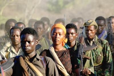 A unit of the Oromo Liberation Front retreating after weeks of fighting. Oromo militancy was the major reason for the recent change of government in Ethiopia.
